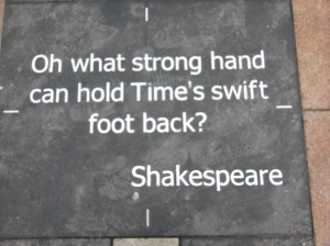 Shakespeare quote on the pavement outside London's O<sub>2</sub> Arena