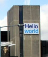BHX 'Hello world' sign, close-up
